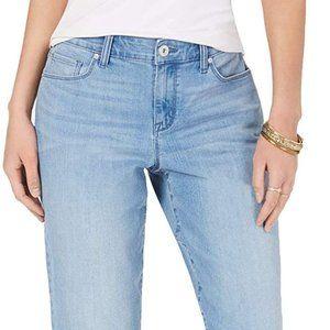 Style & Co. women 8 curvy fit cuffed boyfriend jeans blue mid rise
